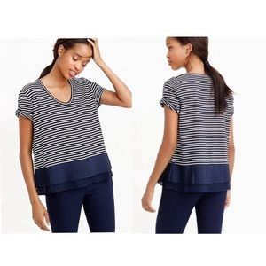 J Crew Pleated Chiffon-Hem Striped Shirt
